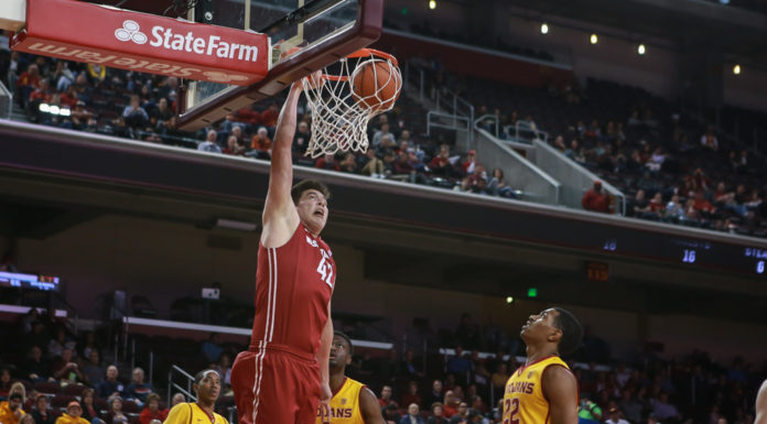 WSU Conor Clifford throwing one down in the second half of the NCAA College Basketball game action during the college basketball game between the Washington State Cougars vs USC Trojans at Galen Center in Los Angeles, CA. (Photo by Jevone Moore/Full Image 360)