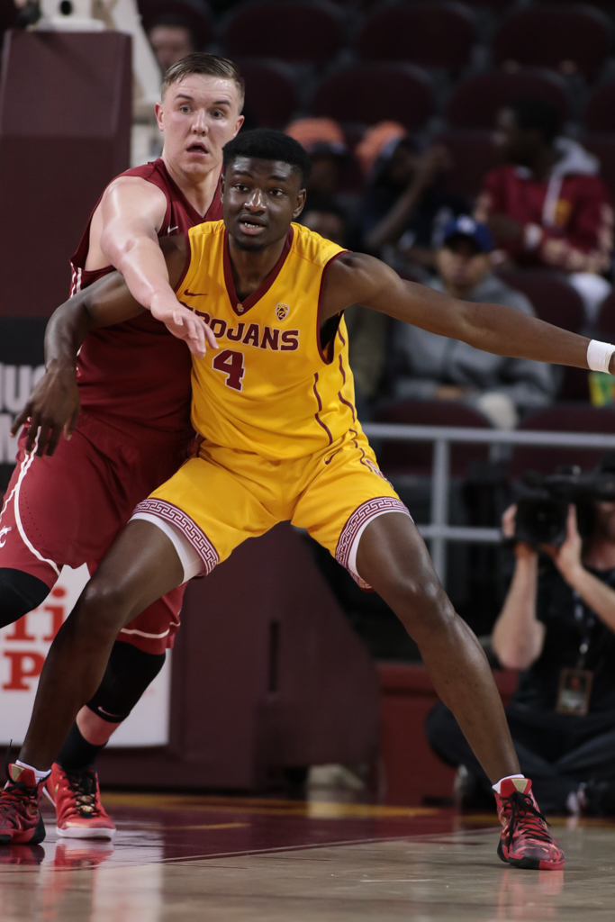 NCAA College Basketball game action during the college basketball game between the Washington State Cougars vs USC Trojans at Galen Center in Los Angeles, CA. (Photo by Jevone Moore/Full Image 360)