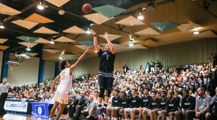 LiAngelo Ball shooting from deep during the Semi Finals State Chino Hills vs Bishop Montgomery on March 14, at El Camino College in Torrance, CA. (Photo by Jevone Moore/Full Image 360)