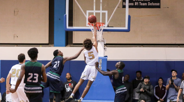 Ethan Thompson going strong to the basket for Bishop during the Chino Hills vs Bishop Montgomery on March 14, at El Camino College in Torrance, CA. (Photo by Jevone Moore/Full Image 360)