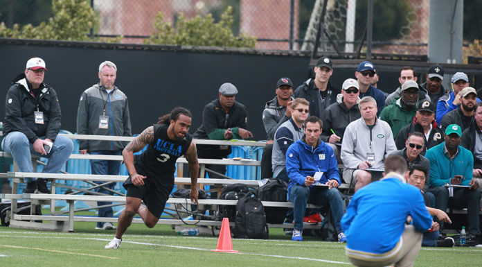 UCLA Safety Randall Goforth with scouts hawking. (Photo by Jevone Moore / Full Image 360)
