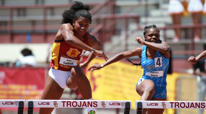 NCAA 2017 UCLA vs USC Dual Meet at USC on April 30, 2017 at Loker Stadium in Los Angeles, CA. (Photo by Jevone Moore/Full Image 360)