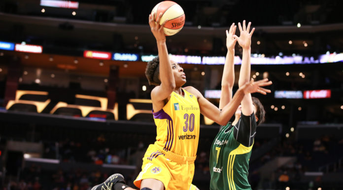 Nneka Ogwumike going up strong during the Seattle Storm vs Los Angeles Sparks game at Staples Center in Los Angeles, Ca on May 13, 2017. (Photo by Jevone Moore/Full Image 360)