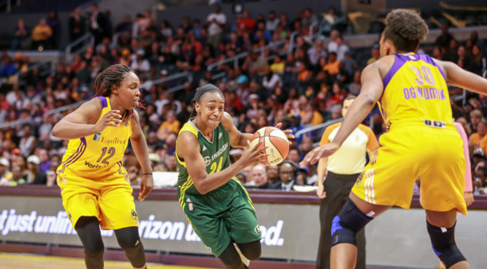 Jewell Loyd driving to the basket during the Seattle Storm vs Los Angeles Sparks game at Staples Center in Los Angeles, Ca on May 13, 2017. (Photo by Jevone Moore/Full Image 360)