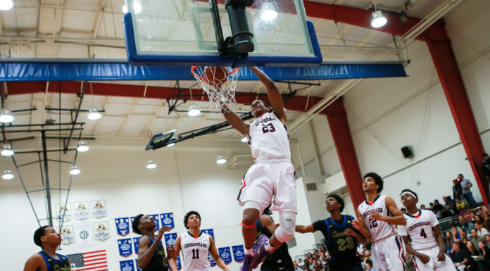 High School Basketball Road to State Crenshaw Cougars vs Crossroads Roadrunners Division II State Playoff game on March 08, 2017 (Photo by Jevone Moore/Full Image 360)