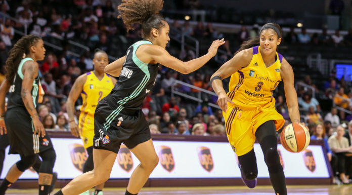 WNBA 2017: New York Liberty vs Los Angeles Sparks game at Staples Center in Los Angeles, Ca on August 4, 2017. (Photo by Jevone Moore/Full Image 360)