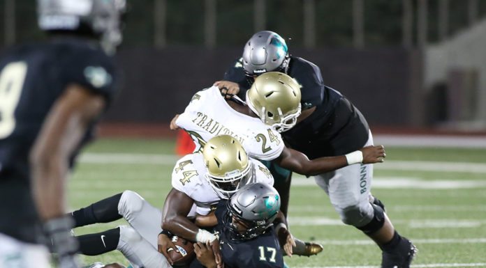 High School Football Long Beach Poly Jackrabits vs Narbonne Gauchos at Murdock Stadium at El Camino College on September 1, 2017 (Photo by Jevone Moore/Full Image 360)