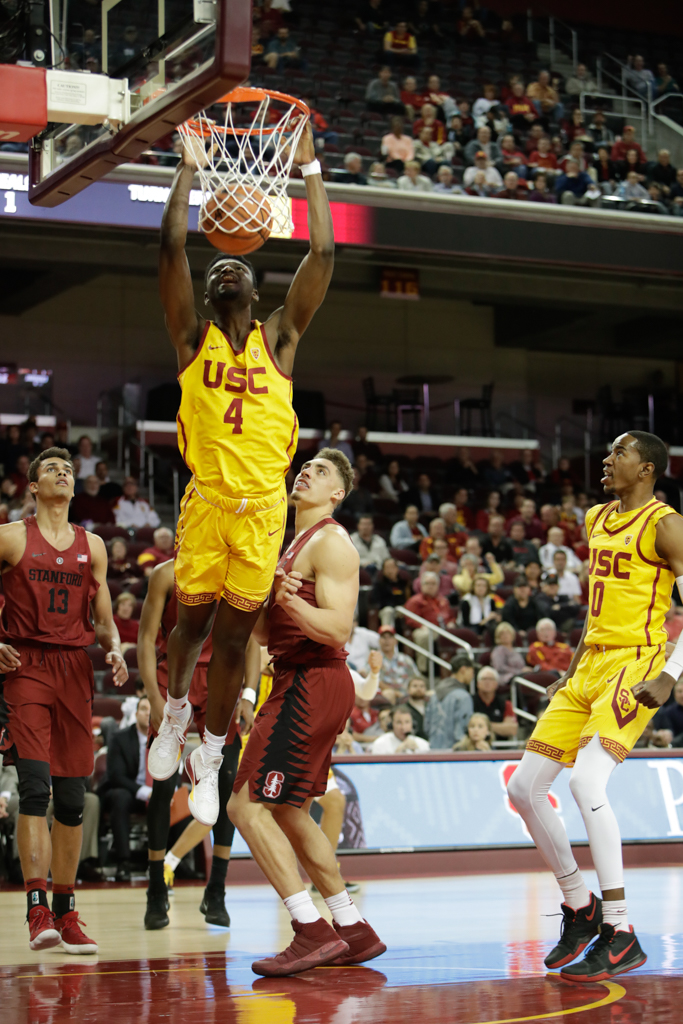 January 24, 2018 Los Angeles, CA USC Trojans (4) forward Chimezie Metu dunking during the Stanford Trees vs USC Trojans mens basketball game at the Galen Center on January 24, 2018 . (Photo By: Daniel Bowyer / fi360 News)