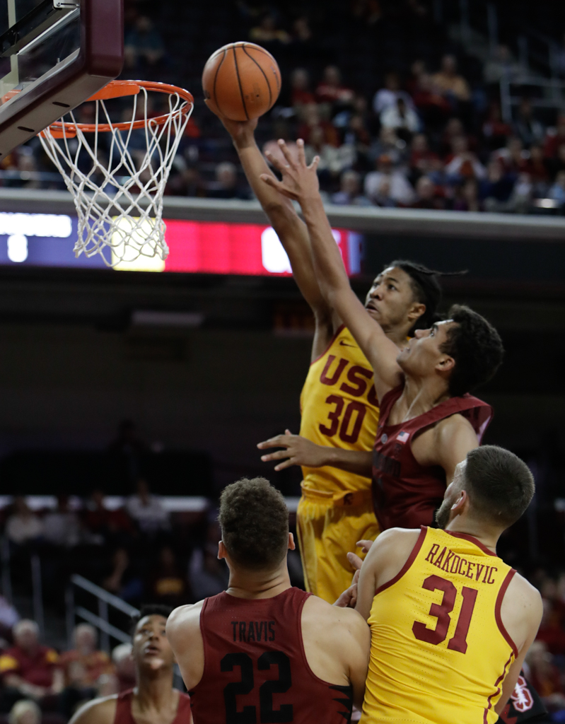 January 24, 2018 Los Angeles, CA USC Trojans (30) guard Elijah Stewart making a layup during the Stanford Trees vs USC Trojans mens basketball game at the Galen Center on January 24, 2018 . (Photo By: Daniel Bowyer / fi360 News)
